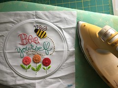 Bee Yourself (Beyond Sweet) Tags: bee yourself kit embroidery hand sewing oliso pro iron ironing