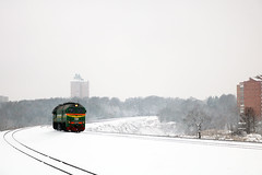 М62-1720 (Life and Photo) Tags: train railroad railway rails road locomotive loco landscape landschaft belarus mogilev tree trees tower city building beautiful winter white snow snowfall windstorm м621720 m62