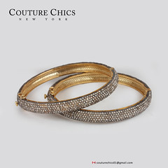 Handmade Diamond Pave Bangle Bracelet 14k Gold Silver Antique Inspired Jewelry (couturechics.facebook1) Tags: handmade diamond pave bangle bracelet 14k gold silver antique inspired jewelry
