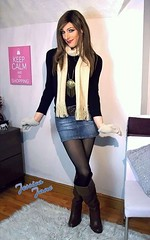 Scarf Measures (jessicajane9) Tags: tv crossdresser tgurl xdress trans m2f transgender cd travesti feminised tg crossdress tranny feminization transvestite boots skirt tgirl crossdressing tights