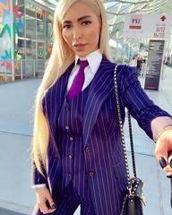 516569alex (osstdzess) Tags: woman women girl girls lady shirt shirts tie necktie suit beauty blonde style fashion lips pinstripe white hair collar