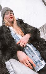 MERIT-2150130 (qauqe) Tags: tartu estonia model female girl woman beanie chick fashion ootd leica timberland footwear red urban streetwear furcoat fur jacket smile laughter winter