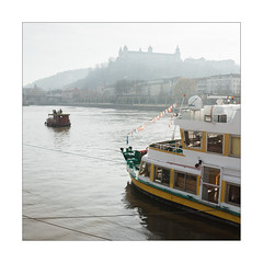 Romantic River Ride (Thomas Listl) Tags: thomaslistl color 35mm square marienfestungwürzburg würzburg ship river water waterscape boat sunday sunlight sunny mood main rivermain fortress castle hill yellow ngc