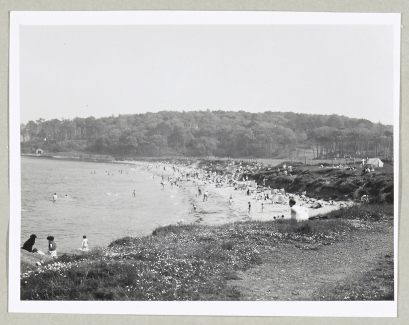Helen's Bay, distant view of crowded beach, 1971