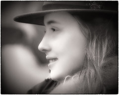Portrait of a stranger (Andy J Newman) Tags: portrait nikon sepia d500 didmarton young sepiatone toned girl candid profile hat monochrome race blackandwhite younggirl pointtopoint badminton england unitedkingdom gb