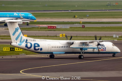 """Flybe G-JECL Bombardier Dash 8 Q400 (IMG_1942) (Cameron Burns) Tags: flybe be gjecl bombardierdash8q400 bombardier dash8 dash8q400 q400 sou southampton white blue red yellow purple green propeller england uk unitedkingdom greatbritain gb amsterdam schiphol airport amsterdamschipholairport """"amsterdam schiphol"""" ams eham airfield aviation aerospace airliner aeroplane aircraft airplane plane canoneos80d canoneos eos80d canon80d canon eos 80d netherlands holland dutch haarlemmermeer """"luchthaven luchthaven europe action"""