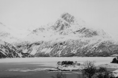 Hidden in the mist (Joost10000) Tags: lake island tree ice snow water mountain storm lofoten canon canon5d eos landscape landschaft nature natur wild wilderness nordland lapland norge noorwegen norwegen arctic bw monochrome black white