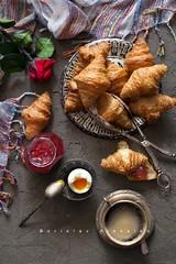 Yellow (Borislav Aleksiev - Food) Tags: rose coffee croissant eggs food fresh light flower jam
