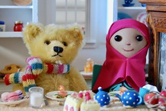 Snack with a Good Friend (Emily1957) Tags: muslim doll handmade handmadedoll clothdoll teddybear etsy steiff dolls light naturallight nikond40 nikon kitlens kitchen miniaturekitchen snack kddollsetsycom muslimdoll reprosteiffbear