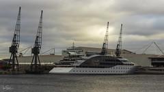 Sunborn Hotel (ivanstevensphotography) Tags: london docks sunrise cranes thames yacht hotel
