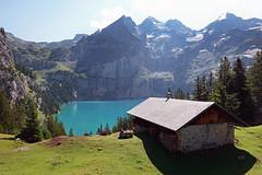 00134 Oeschinensee bei Kandersteg (Schweiz) (Fotomouse) Tags: margrit fotomouse landschaft berglandschaft landscape oeschinensee berge wald see bergsee aussicht haus berdhütte ausflugsziel kandersteg schweiz swiss svizzera switzerland