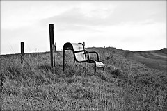 Lonely Seat on Trundlegate  Monochrome (brianarchie65) Tags: northnewbold trundlegate bikers bikes hills hedges roads seats people monochrome blackandwhite blackandwhitephotos blackandwhitephoto blackandwhitephotography blackwhite123 blackwhiterealms unlimitedphotos ngc canoneos600d geotagged brianarchie65 eastyorkshire eastriding yorkshire