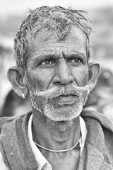 0941 Portrait Of Mustache Man (Hrvoje Simich - gaZZda) Tags: outdoors people man mustache old monochrome blackwhite portrait indian india asia travel nikon nikond750 nikkor283003556 gazzda hrvojesimich