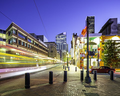 Train to 609 Main - Main St at Commerce- (Mabry Campbell) Tags: 609mainattexas harriscounty hines houston pickardchilton texas usa architecture bluehour building colorful downtown image motion movement photo photograph skyline skyscraper street tower train f71 mabrycampbell march 2019 march272019 20190327609campbellh6a6597pano 24mm 60sec 100 tse24mmf35lii