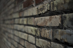 Brick of Sants (Giordano Stramare) Tags: barcelona catalunya spain pentax takumar colour road street picture photo barcellona spagna estate summer light dark brick wall bokeh 35mm f2 smc k5iis