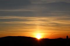 February (Potographe) Tags: sunset coucherdesoleil nuages clouds soleil sun ciel sky blue bleu orange jaune yellow evening soirée église church dark black paysage landscape