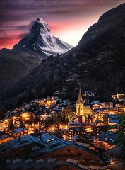 Schweiz - ZERMATT - Night view of the - Matterhorn (monte-leone) Tags: zermatt schweiz switzerland panorama matterhorn