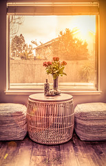 Interior HDR (Warm Mood) (Rohit KC Photography) Tags: interior warm edited yellow furniture rose flower vase seatingarea inside window bright yellowish canon canondslrcamera sunset funshoot photo photography hobby lightroom hdr detailed contrast vibrant