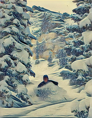 Waist Deep (wayupstream) Tags: ski winter powder mountains illustration skiing utah snow