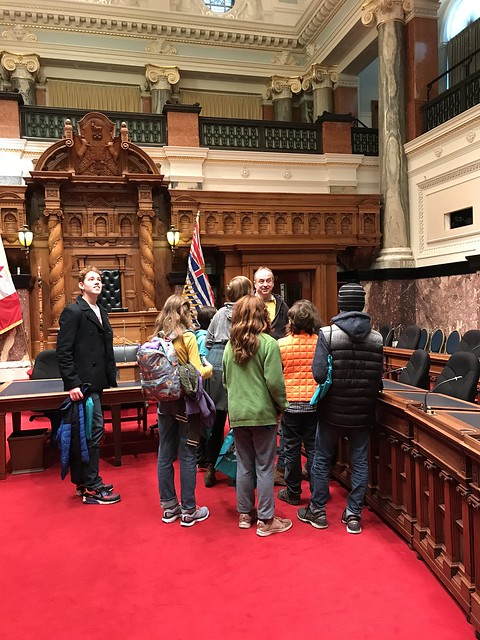 First Climate Strike kids getting a tour of the legislature
