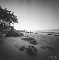On The Beach (bigbill2006) Tags: hawaii2019 pinholefilm blackandwhite bw pinholecamera realitysosubtle 6x6 fuji acros100 monchrome beach ocean