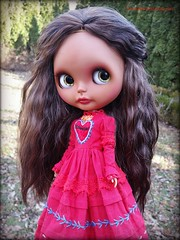 Mila (Motor City Dolly) Tags: custom ooak tan brown latina blythe doll customized mohair reroot mexican folk art