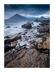 Incoming Tide at Elgol (Dave Fieldhouse Photography) Tags: scotland skye isleofskye rocks coast seascape cullins blackcullin mountains lochscavaig loch hebrides portrait hightide water uk highlands clouds evening dusk fuji fujifilm fujixt2 wwwdavefieldhousephotographycom sea ocean waves blue