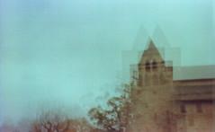 Église Sainte-Fauste, Bozouls, France. (matériel brouilleur) Tags: diana pinhole stenope lomography lomo expiredfilm tungsten eglise church bozouls aveyron 35mm saintefauste lensless estenopeica