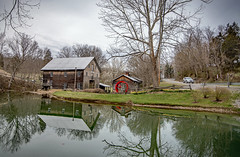 The Old Mill_April 2, 2019_Explored (Bob G. Bell) Tags: mill gristmill cooksmill greenville wv monroe reflection pond car road bobbell nikon d750