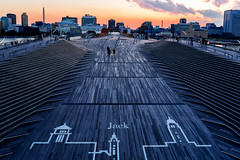 At Rooftop of Osanbashi Yokohama at Sunset : 日没 横浜・大さん橋くじらのせなかにて (Dakiny) Tags: 2018 winter december evening twilight japan kanagawa yokohama nakaku nakaward kaigandori city street park osanbashi deck wooddeck kujiranosenaka whalesback landscape sea sky people nikon d750