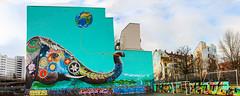 Elephant plays with world ball (JuliSonne) Tags: streetart urbanekunst mauer wall graffiti colors scene urban pasteup stencil street berlin jadoretong elefant elephant