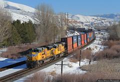 Hustling through Henefer (jamesbelmont) Tags: unionpacific containers stacks railway railroad train locomotive henefer utah evanstonsubdivision emd sd70ace
