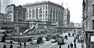 Broadway from around 32nd Street, showing Herald Square, Saks, and the elevated railroad station - Dec. 1904