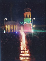 February 16th (Viktorija Sk) Tags: lithuania february 16 act independence vilnius lietuva fire bonfire freedom architecture crowd people vintage retro effects film oldfilm photooftheday photography photograph