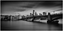 London Skyline (Andy J Newman) Tags: walkietalkiebuilding longexposure cheesegrater thames nikon monochrome river southwarkbridge skyiine southbank silverefex photoshop london blackandwhite lightroom d810