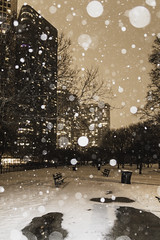 Parks at night (aerojad) Tags: eos canon 80d dslr 2019 chicago urban snow snowing winter february bokeh snowkeh outdoors city night nightphotography nightscape winterscape snowscape