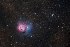 The Trifid Nebula and M21 (AstroBackyard) Tags: trifid nebula astronomy space astrophotography m20 messier object hydrogen h ii reflection cherry springs star party ioptron cem60 asi294mc pro zwo cameras explore scientific refractor sagittarius m21