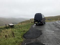 A701 Lay-by - Scotland (Paul.Bevan) Tags: ericstane devilsbasin a701 layby landmark scotland sightseeing greysky mist fog chevron freshtarmac mercedesbenz sprinter van blue xlwb 316