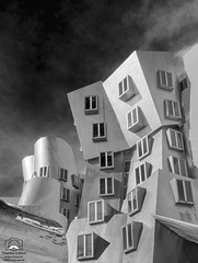 Strange Forms (allentimothy1947) Tags: blackandwhite boston cambridge gehry ma mit massachusetts architecture bw building design parical photoshop sky street