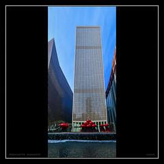 Manhattan Moments: Skyscraper With Red Balls - IMRAN™ (ImranAnwar) Tags: holidays manhattan balls reflections newyork panorama skyscraper celebration waterfall perspectivewrap newyorkcity winter architecture photoshop imrananwar decorations sky imran unitedstates us