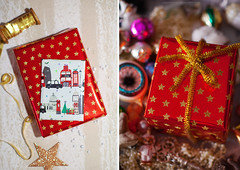Gifts for friends (Yulchonok) Tags: 50mm christmas holiday red wrapping diptych