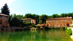 Bagno Vignoni (Eternally Forgotten) Tags: toscana tuscany italy italia italien italian province siena bagnovignoni sanquiricodorcia valdorcia countryside little tiny town village thermal spot waters crystalline clear sky skies architecture historic center peace serenity harmony health tranquillity silence pleasant simple journey travel tourism trip discovery voyage adventure exploring hiking wandering magic spell enchanting memories recollections lovely dreams melancholy yearning nostalgia reminiscence valley