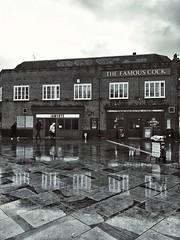 Interesting name for a pub :-) (marc.barrot) Tags: reflection bw monochrome pub building uk n1 london islington highburycorner thefamouscock