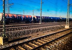 freight wagons (Fay2603) Tags: freight waggons train sky himmel blau azure azurro blue rails