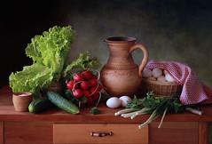 Still life with vegetables (Tatyana Skorokhod) Tags: stilllife vegetables cucumbers eggs onion salad decor