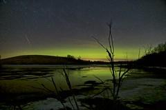 Meteor or Satellite? (John Andersen (JPAndersen images)) Tags: airdrie alberta aurora bighillsprings canon cold constellations farm meteor night pond sky spring stars