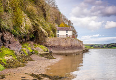 Boathouse at Laugharne - Dylan Thomas (hemlockwood1) Tags: boathouse laugharne dylan thomas milk wood estuary taf river carmarthenshire wales shed sky clouds poems castle