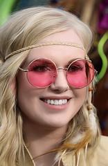 Rose-Colored Glasses (wyojones) Tags: montana whitefish feburary wintercarnival woodstockwhitefish 60s 1969 vintage woman girl chick hair blonde longhair rosecoloredglasses beautiful cute smile headband feathers wyojones