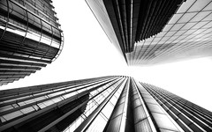 Always Look Up (DobingDesign) Tags: architecture corporaterealestate angles lines modernarchitecture london blackandwhite contrast geometric abstract abstractarchitecture citylife pattern cladding glass structure windows negativespace