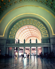 Morning Light at Union Station (` Toshio ') Tags: toshio washingtondc dc districtofcolumbia unionstation people train trainstation architecture columns light statues arch iphone perspective silhouettes